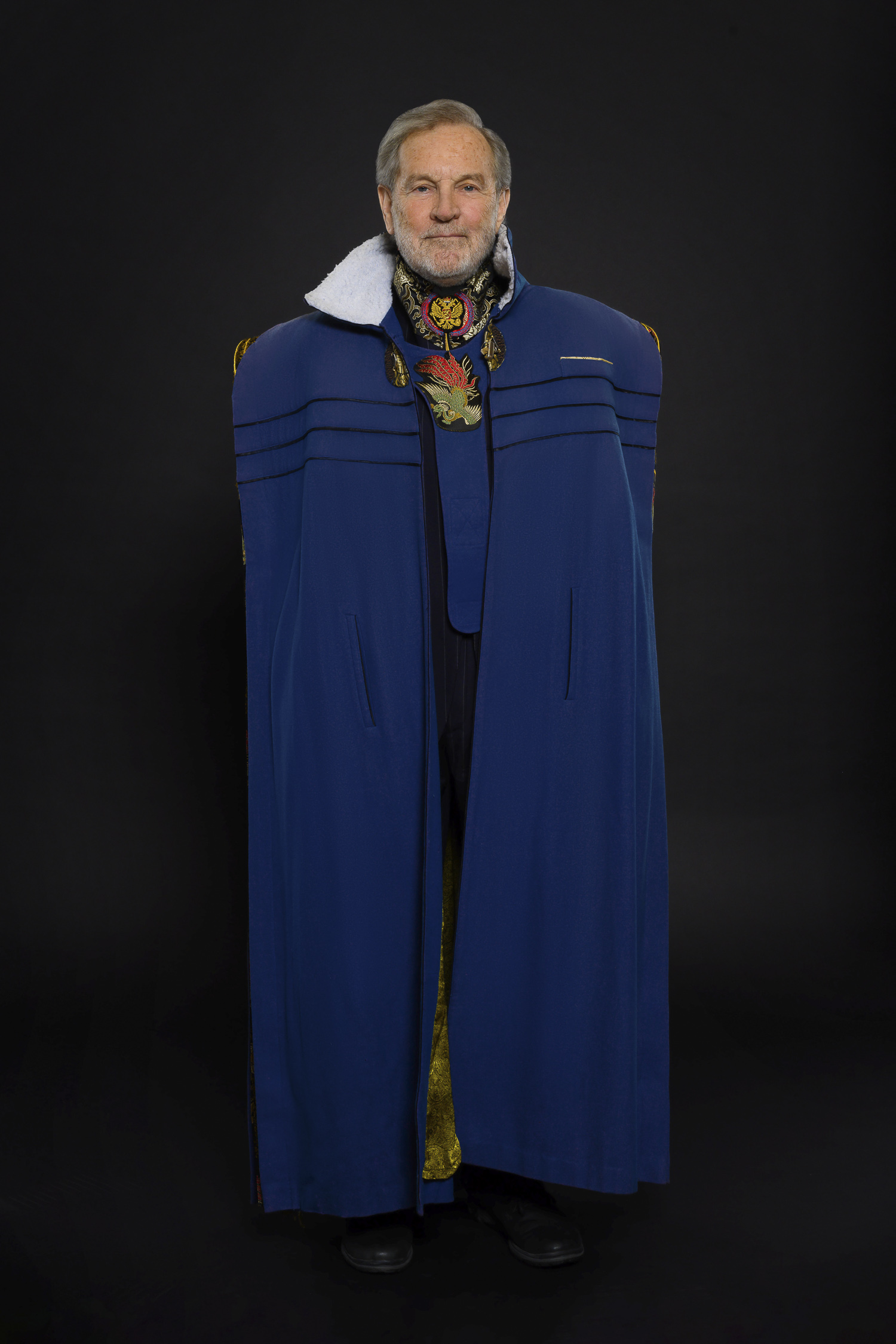 Blue Wool and Silk Cape