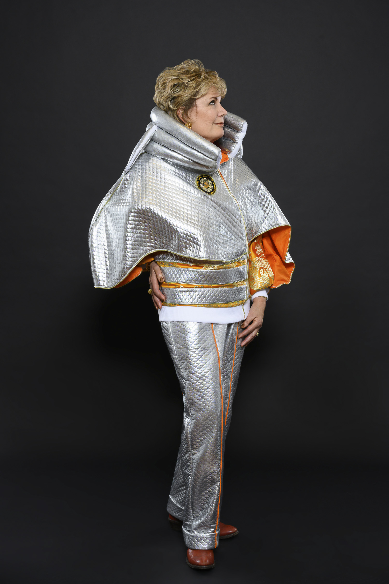 Silver Short Cape Jacket and Pant Ensemble